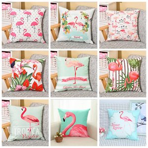 Wholesale Flamingo pillowcase Colorful Pillowcase sofa cushion waist pillow cover Cartoon printed sofa cushion cover New Textiles home decor CLS506
