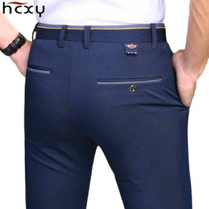 HCXY 2019 New Design Spring Summer Men's Smart Casual Pants Slim Pant Straight Trousers Thin Smooth Stretch Business Men Size 38 CJ191118