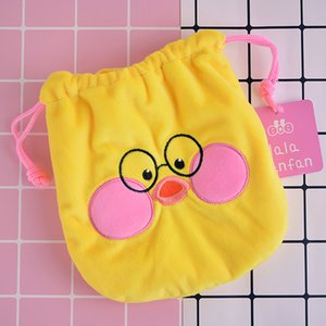 Wholesale IVYYE Yellow Duck Cartoon Drawstring Bags Cute Plush storage handbags makeup bag Coin Bundle Pocket Purse NEW