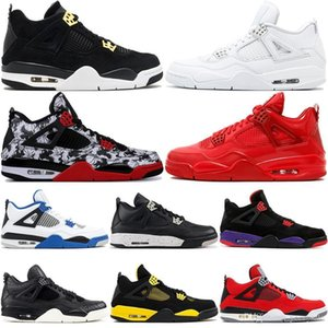 4 4s Mens Basketball Shoes Hot Punch Lightning Pale Citron Bred Cactus Jack Fire Red Oreo Toro Bravo Sport Sneakers Designer Shoes 8-13 on Sale