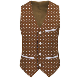 Polka Dot Men Suit Vest Waiter Work Outfit Wedding Groomsmen Waistcoat Singer Performance Stage Retro Vest Gentlemen Wear