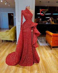 Gorgeous Long Sleeve Red Mermaid Evening Dresses 2019 Elegant Sexy Prom Dress Sequined Formal Evening Gowns robe de soiree Abendkleider on Sale