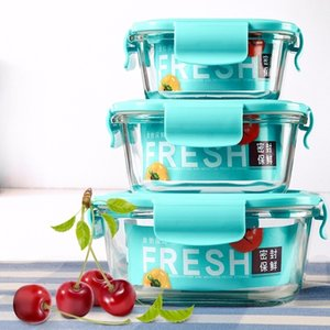 New 3pcs Suit Transparent Glass Lunch Box Household Microwave Oven Refrigerator Crisper Seal Food Salad Storage Q190531 on Sale