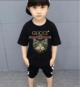 Wholesale 2019 new Luxury summe Hot brand 1-9 years old Baby boys girls T-shirts r shirt Tops cotton children Tees kids Clothing 2 colors oferde