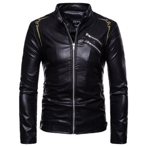 Wholesale Men Leather Motorcycle jacket Dropshipping hot sale Genuine jackets fashion s long sleeves top coat Wind proof zipper clothes