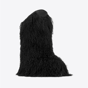 Wholesale Women Winter Snow Boots Genuine Real Hairy Ostrich Feather Furry Fur Flats Slip On Warm Runway Knee High Botas Black White