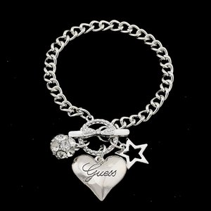 Wholesale Big Love Heart Charms Bracelets For Women Gold Silver Color Bileklik Bracelet Bangle Jewelry Europe American Style Jewelry
