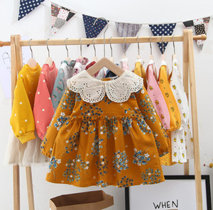 Wholesale Baby girls mustard princess dresses kids lace hole embroidered petals lapel princess dress children floral printed long sleeve dress F9870