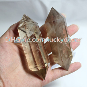 Wholesale quartz faceted for sale - Group buy 5Pcs Large Double Terminated Smoky Quartz Healing Magic Grid Pencil Point Gemstone Crystal Carved Polished Faceted Natural Smokey Stone Wand