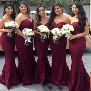 Wholesale long bridesmaid dresses wine red sweetheart lace bridesmaid dress sexy mermaid dress lace evening dresses wedding party dress