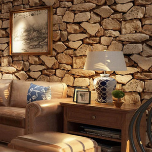 Wholesale Vintage D Stereo Stone Wallpaper Simulation Stone Block Coffee Shop Bar Restaurant Clothing Store PVC Wallpaper