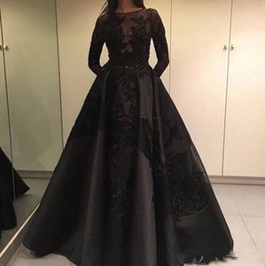 Wholesale Vintage Black Long Sleeve Evening Dresses With Detachable Train A Line Sheer Neck Appliques Beads Arabic Dubai Fashion Prom Party Gowns