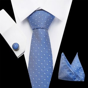 Wholesale Vangise Tie Sets Mens Slim Tie Dot Floral Ties Hanky cufflink cm Blue Necktie Pocket Square ties For Men Wedding Party