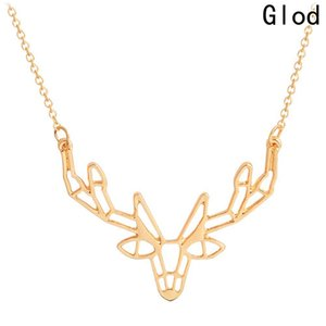 Wholesale Unique Origami Deer Charm Necklace Women Boho Antler Horn Animal Chain Necklaces Christmas Jewelry Everyday Gifts