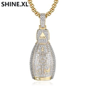 Wholesale Hip Hop Car KeyChain Pendant Necklace Gold Silver Color Plated Micro Paved Cubic Zircon Charm Necklace
