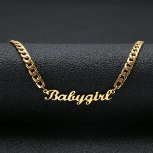Wholesale Personalized Custom Name Necklace Stainless Steel Statement Pendant Necklace Custom Baby girl Name Jewelry For Women Gift