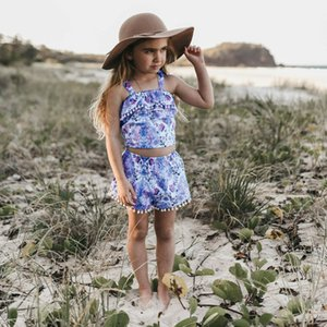 Wholesale Summer fashion new design Bohemian Beach Set Child Girl Baby Strap Fringe Top Shorts Two Piece Set