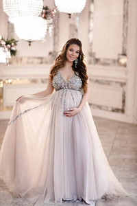 Wholesale Sexy Sequin Maternity A line Prom Dresses Baby Shower Gowns with Tulle Skirt Sleeveless V neck Tulle Evening Party Gowns Robe De Mariee