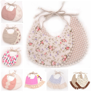 Tassel Baby Bibs Infant Cotton Linen Burp Cloths Double Layer Newborn Bibs Kids Bandanas Geometry Animal Printed 39 Designs 10pcs DHW2522