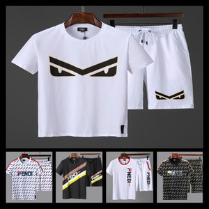 Wholesale 19SS Tee Shorts Colorful Mosaic Track Sports Set Luxury Stitching Unisex Casual Summer Tops Pants Fitness T shirt Shorts