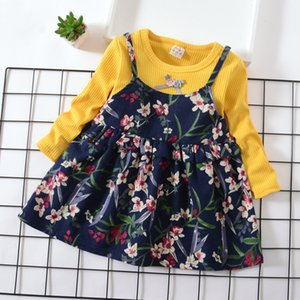 Wholesale Girl Fake Two piece Flower Princess Dress Summer New Children s Long sleeved Cotton Vest Casual Dress