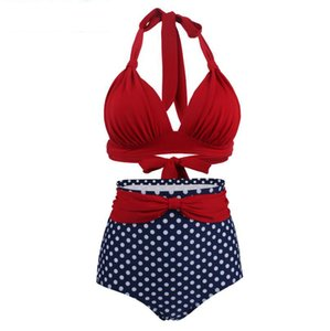 Wholesale High Waist Bikini Set Sexy Red Swimwear Crochet Bathing Suits Asian Size New Fashion Wave Point Swimsuit