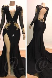Wholesale Gold Appliques Black Prom Dresses sexy Deep V Neck Mermaid Sexy Backless high split Long Sleeves Evening Gowns Vintage Arabic Party Dress
