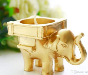 Wholesale Lucky Golden Elephant candle tealight Holder wedding door gifts Favors Souvenirs Giveaways wholesales