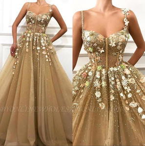 2019 3D Floral Spaghetti Straps Tulle A Line Long Prom Dresses Long Lace Applique Corset Sheer Floor Length Formal Party Evening Dresses on Sale