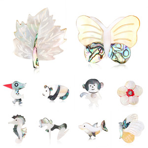 Natural Shell Brooches Dolphin Fish Seahorse Bee Butterfly Woodpecker Owl Pigeon Brooch Pins Wedding Bouquet Animal Brooches