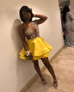 Wholesale Gorgeous Yellow Homecoming Dresses Short Mini One Shoulder Long Sleeves See Through Appliques Beaded Tiered Satin Tulle Prom Gowns
