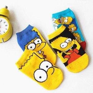 Lionzone Women Cotton Cartoon Cute Fashion Funny Simpson Boat Novelty Invisible Happy Socks Hot Sale C190416 on Sale