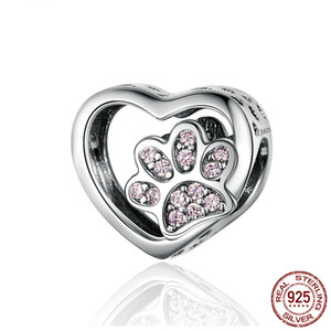 Wholesale Cute Sterling Silver CZ Female Bear Paw Footprints Carved Heart Beads fit s925 Charms Animal for Bangle Bracelet Fine Jewelry