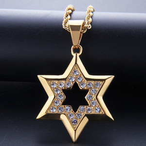 ouro judeu venda por atacado-Hip Hop Bling Iced Rhinestone Gold Stainless Steel Jewish Star of David Hexagram Pendant collar for Men Rapper Jewelry
