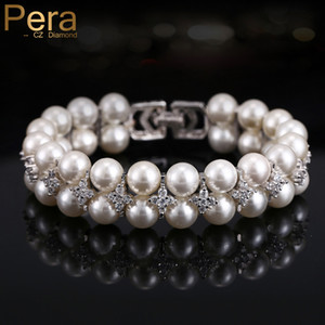 Wholesale Pera European Elegant Handmade Double Rows Bridal Round Big Imitation Pearl Bangles Bracelets Wedding Jewelry for Women B030