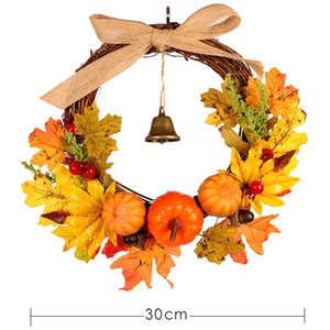 Wholesale Autumn Leaf Pumpkin Wreath with Bell Thanksgiving Halloween Front Door Home Decor MYDING