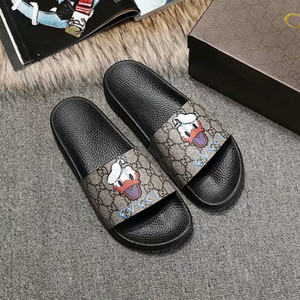 New Designer Mens Womens Luxury Slipper Cartoon print PU Leather Dress Slippers Women Brand Flip Flops Fashion Casual Sandal With dust bag
