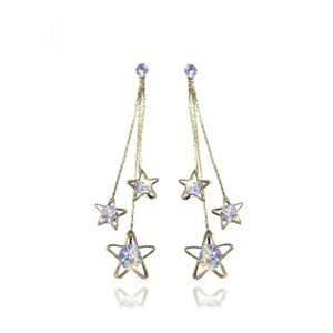 Wholesale star gold 925 for sale - Group buy Gold Silver Zircon Crystal Star Statement Dangle Earrings Long Tassel Drop Earrings Sets for Women Jewelry