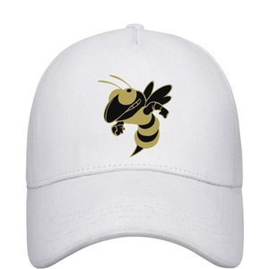 Womens Mens Flat-along Adjustable GA Tech Yellow Jackets football Gold logo Rock Punk Cotton Trucker Hats Bucket Sun Hats Flat Top Hat Airy