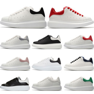 Wholesale 2019 Mens Designer shoes white leather casual for girl women men black gold red fashion comfortable flat sports sneakers Platform size