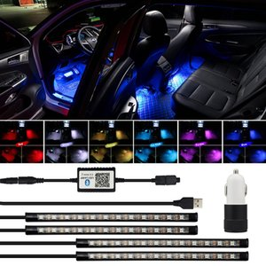 Wholesale RGB Remote Control LED Strips Car Decorative Atmosphere Lamp For Audi A6 C6 C5 A4 B6 B8 B7 A3 P V A7 A8 A5 Q5 Q7 TT S line