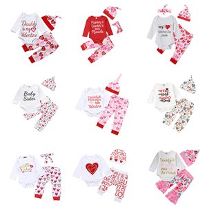 Wholesale Newborn Baby Outfits Boys Girls Designs My First Valentines Day Hearts Lips Printed Romper Pant Headband Cap Tutu Dress Boutique Clothes