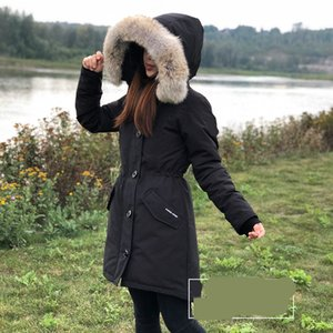 Wholesale Women down coat WINTER CANADA ROSSCLAIR GOOSE Down Parkas WITH HOOD Snowdome jacket Real wolf fur Collar White Duck Outerwear Coats