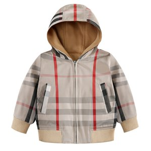 Boys 4-8 Years Old Plaid Casual Jacket Children Windproof Warm Children's School Uniform Breathable Waterproof Windproof Hooded Jacket on Sale