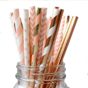 Wholesale gold striped straws for sale - Group buy Striped Paper Straw Set Disposable Party Bar Pearl Milk Tea Decoration Paper Straw Purple Rose Gold Stripe Polka Dot Straw