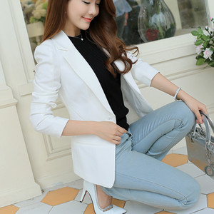 Wholesale 2019 Ladies Blazer Long Sleeve Blaser Women Suit jacket Female Feminine Blazer Femme Pink Blue White Black Autumn