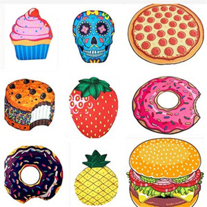 Wholesale strawberry mats resale online - Round Beach Towels Hamburger Pizza Donuts Strawberry Quick Drying Outdoor Sports Pads Swimming Camping Bath Yoga Mat Blanket Shawl Swimwear