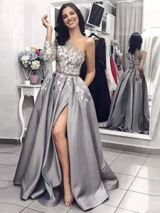 Wholesale Silver One Shoulder A Line Formal Evening Dresses Long Sleeve With Applique Satin Floor-Length Custom Made Prom Party Gowns 2019 New