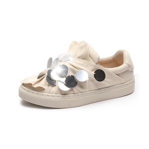 Wholesale Women s Flats Shoes Fashion Loafers Spring Summer Sequins White Sneakers For Woman Canvas Shoes Female Loafer Women Sneaker