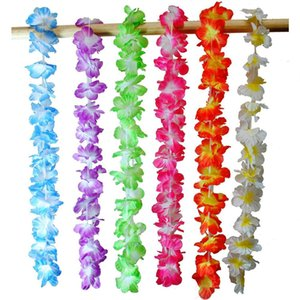 Wholesale Hawaiian Artificial Flowers Leis Garland Necklace Fancy Dress Hawaii Beach Flowers DIY Party Decor